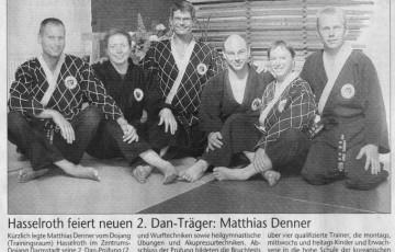 Zeitungsartikel zum bestehen der 2. Dan Prüfung von Matthias Denner