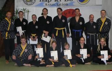 Teilnehmer der 31. Shinson Hapkido Kup Prüfung im Dojang Hasselroth