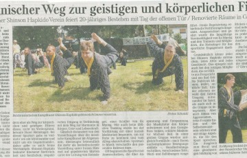 Zeitungsartikel der Gelnhäuser neuen Zeitung anlässlich unseres 20 jährigen Jubiläums