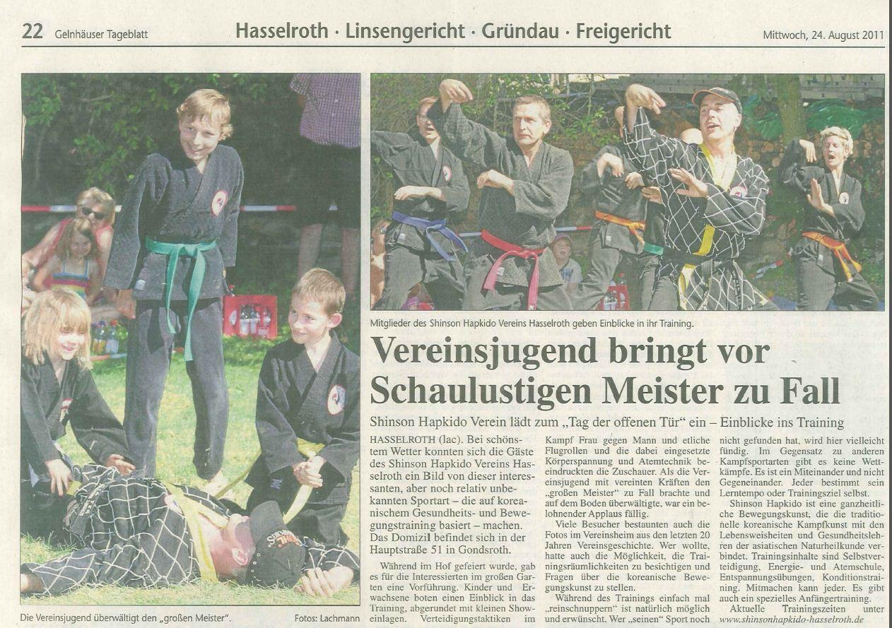 Pressebericht aus dem Gelnhäuser Tageblatt vom Tag der offenen Tür 2011