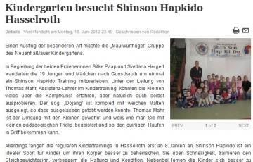 Artikel über Kindergartenbesuch aus Neuenhaßlau beim Shinson Hapkido Hasselroth e.V.