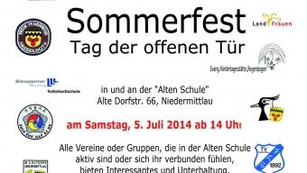 Plakat Sommerfest der Vereine 2014