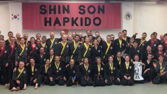 Abschlussbild mit allen Prüflingen und Prüfern der Shinson Hapkido Prüfung zum 31. Ki in Darmstadt